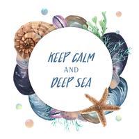 Grinalda de concha do mar vida marinha viagens de verão na praia, aquarelle isolado, design ilustração vetorial Cor Coral na moda