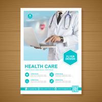 Cobertura de saúde a4 modelo de design e ícones planas para um relatório e design de brochura médica, panfleto, decoração de folhetos para impressão e apresentação de ilustração vetorial vetor