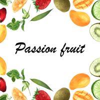 Banner de moldura de frutas tropicais com texto, maracujá com kiwi, abacaxi, padrão frutado, fresco e saboroso, aquarelle isolado ilustração vetorial