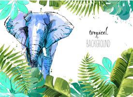 Fundo com folhas tropicais e elefante. vetor