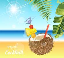 Cocktail tropical. Ilustração de férias de verão.