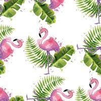 Flamingo cor-de-rosa do vetor com as folhas tropicais exóticas. Padrão sem emenda