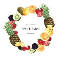 Design de bandeira de grinaldas de frutas temporada tropical, laranja de maracujá fresco e saboroso quadro, ilustração em vetor cartão aquarela