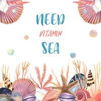 Viagem de verão mar vida marinha shell na praia, aquarelle isolado, ilustração vetorial Cor Coral 2019 na moda vetor