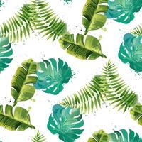 Folhas tropicais. Sem costura fundo floral. Isolado no branco. Ilustração vetorial vetor