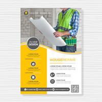 Ferramentas de construção cobrem a4 modelo e ícones planas para um design de relatório e brochura, panfleto, banner, decoração de folhetos para impressão e apresentação de ilustração vetorial