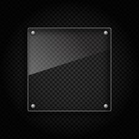 Placa de vidro no fundo metálico vetor