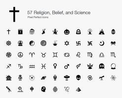 57 Religião, Crença e Ciência Pixel Perfect Icons. vetor