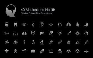 Médico e Saúde Órgãos Humanos e Partes do Corpo Pixel Perfect Icons Shadow Edition.
