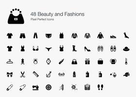 48 Beleza e Modas Pixel Perfect Icons. vetor