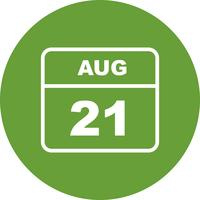 21 de agosto Data em um calendário único dia vetor
