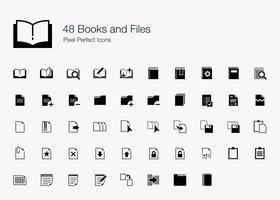 48 livros e arquivos Pixel Perfect Icons. vetor