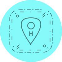 Hospital, ícone, desenho, localização vetor