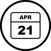 21 de abril Data em um calendário único dia