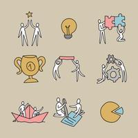 Ícones de equipe de trabalho doodled vetor