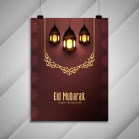 Design de brochura abstrata Eid Mubarak islâmica