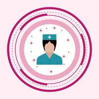 Enfermeira, ícone, desenho vetor