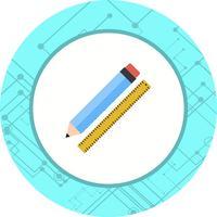 Desenho de ícone de lápis e régua