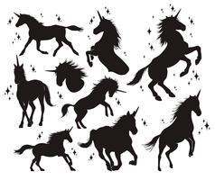 Silhueta mágica do unicórnio, ícones à moda, vintage, fundo, tatuagem dos cavalos. vetor