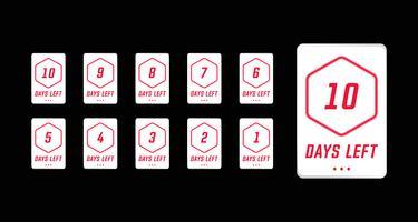 Contagem regressiva de dias número esquerda no vetor de design simples cartão moderno