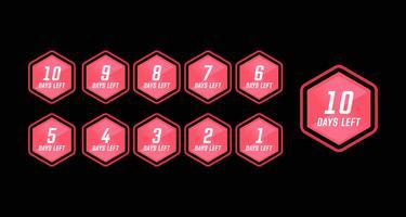 Número dias deixaram a contagem regressiva no hexágono rosa moderna tecnologia design simples estilo vetor