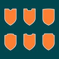 Em branco escudo laranja forma crachá modelo conjunto coleção vetor