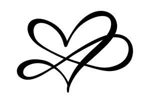Coração amor assinar para sempre. Infinito símbolo romântico ligado, juntar-se, paixão e logotipo do casamento. Modelo para t-shirt, cartão, cartaz. Elemento plano de design do dia dos namorados. Ilustração vetorial vetor