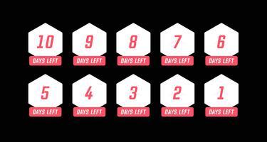 Número de hexágono simples dias à esquerda contagem regressiva vetor