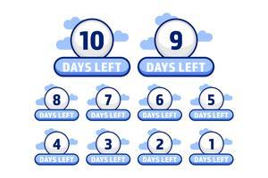 Número de dias de bola branca deixados de 10 até 1 jogo em estilo de desenho animado vetor