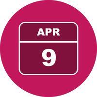 9 de abril Data em um calendário de dia único