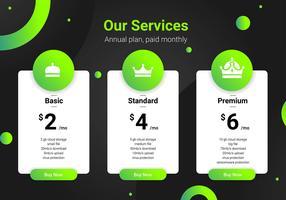Modelo de interface verde de tabela de preços. vetor