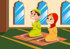 Crianças muçulmanas rezam na mesquita vetor