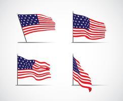 Conjunto de bandeira americana vetor