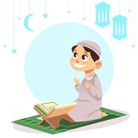 Criança muçulmana rezando vetor
