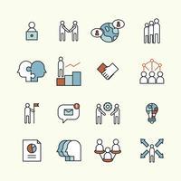 Delineou o conjunto de ícones sobre trabalho em equipe vetor