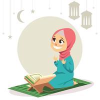 Menina muçulmana rezando vetor