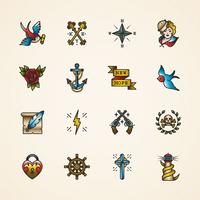 Conjunto de ícones de vetor de tatuagem de velha escola