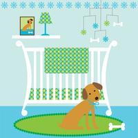 cena de berçário de bebê fofo cão com berço