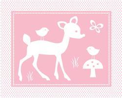 cena de veado bonito com aves em fundo rosa polka dot