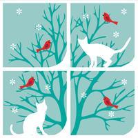 gatos no gráfico de janela com cardeais de árvore e flocos de neve