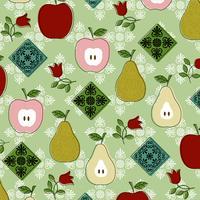 padrão de cozinha de frutas vintage vetor