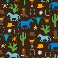 padrão de caubói com cavalos cactos selas e botas vetor