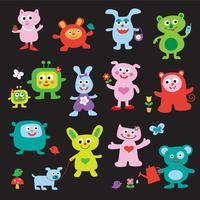 personagens de desenhos animados de monstro fofo vetor