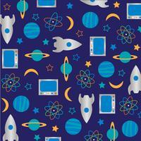 padrão de espaço exterior de foguete de ciência sobre fundo azul