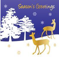 temporadas cumprimentos vector gráfico cena de inverno com cervos de ouro e árvores