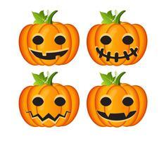 Halloween conjunto com abóboras vetor