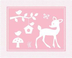 cena de veado bonito com pássaros e gaiola em fundo rosa polka dot