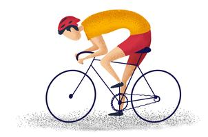 Equipe a bicicleta da equitação que dá um ciclo para a aptidão no fundo branco. personagem dos desenhos animados