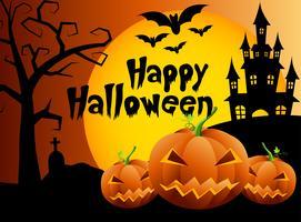 Abóboras de Dia das Bruxas e castelo escuro no fundo, ilustração feliz do projeto de mensagem de Dia das Bruxas.