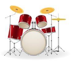 conjunto de tambores kit instrumentos musicais ilustração vetorial estoque
